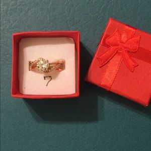Rose Gold Plated Engagement Ring.